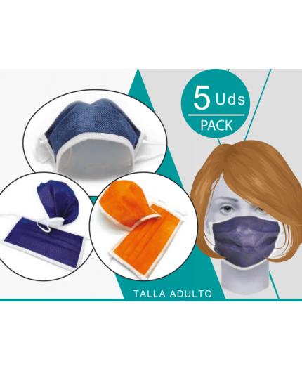 Mascarilla 3 Capas Reutilizable - Color Coral