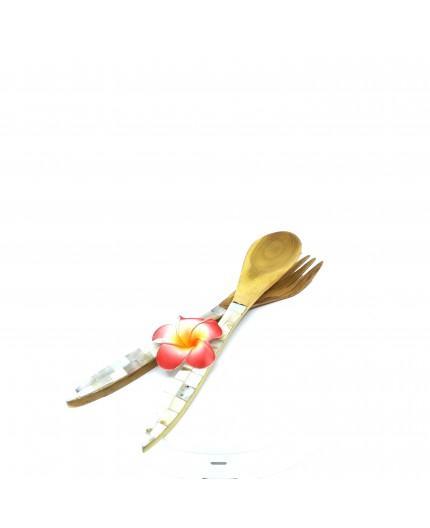 Pack Tenedor + Cuchara Madera y Paua con Flor