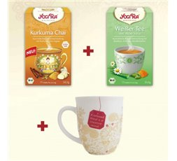 Yogi Tea Cúrcuma chai + Té Blanco aloe vera + Taza de regalo